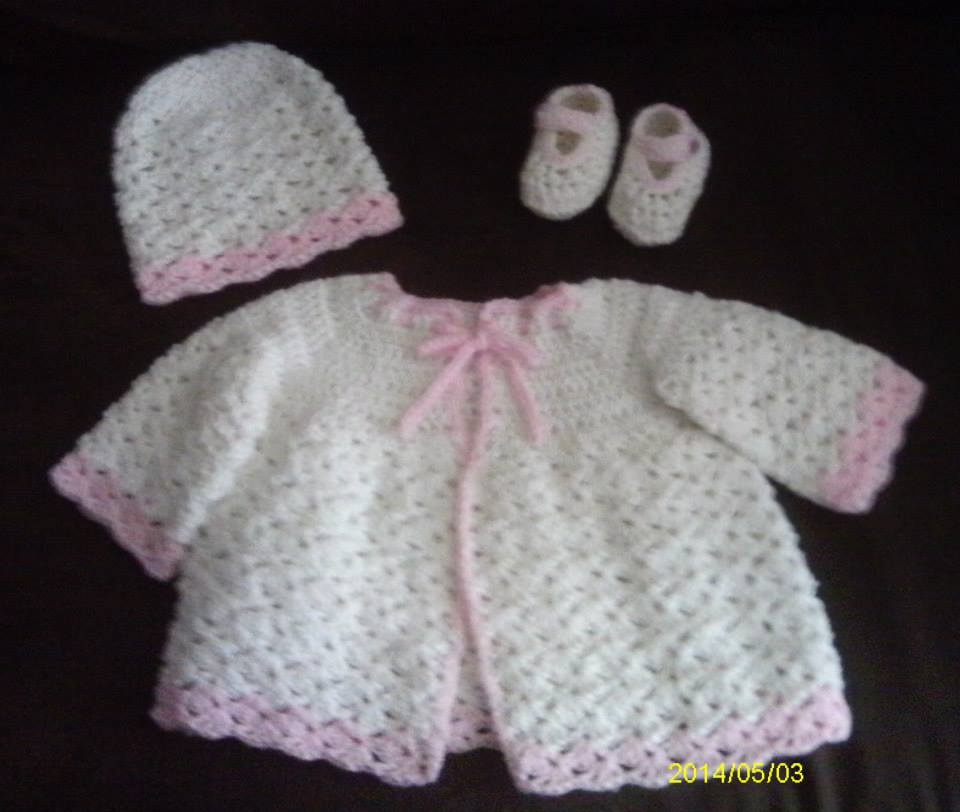021c816c9ed ... Newborn Baby Girl Pink   White Sweater